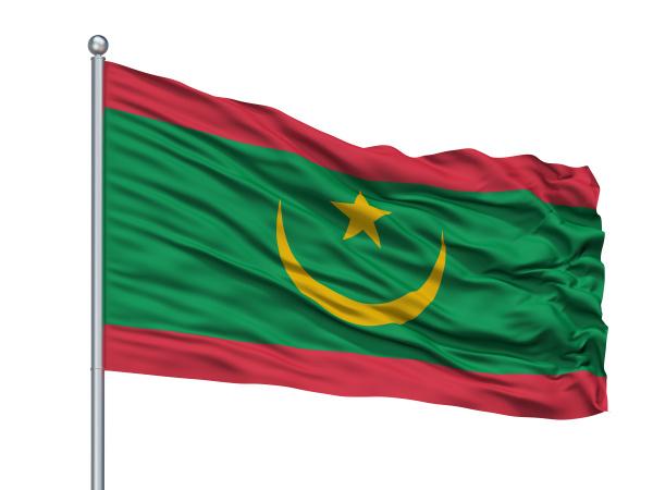 mauritania flag on flagpole isolated