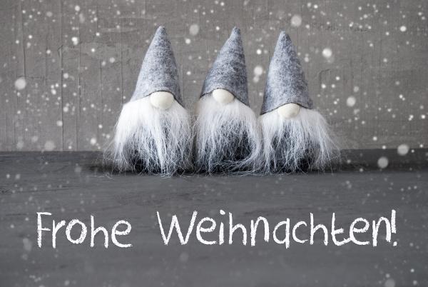 gnomes cement frohe weihnachten