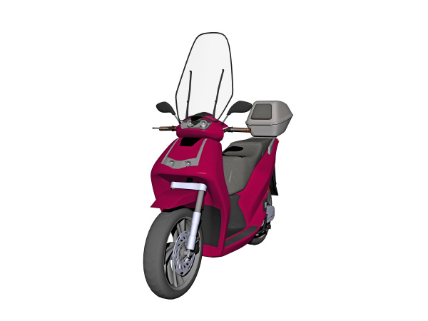 red scooter with windshield