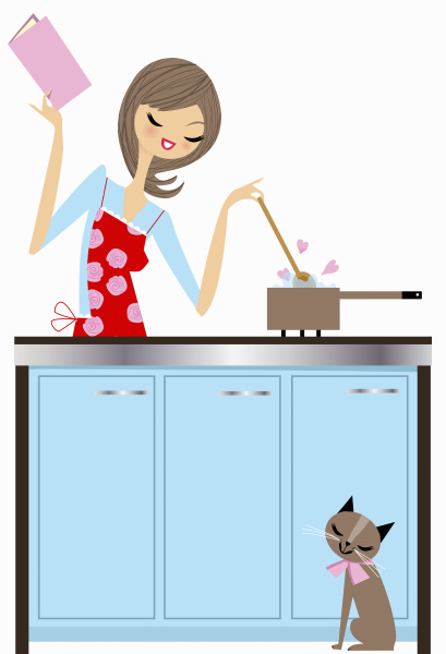 happy woman cooking with love