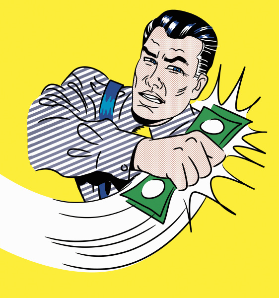 cartoon of businessman gripping money