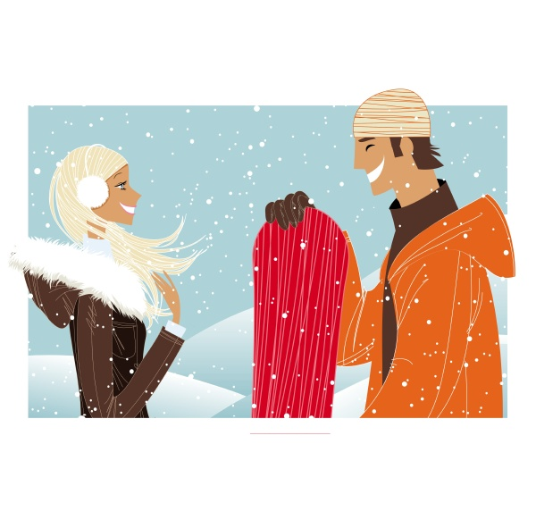 couple laughing in snow with snowboard