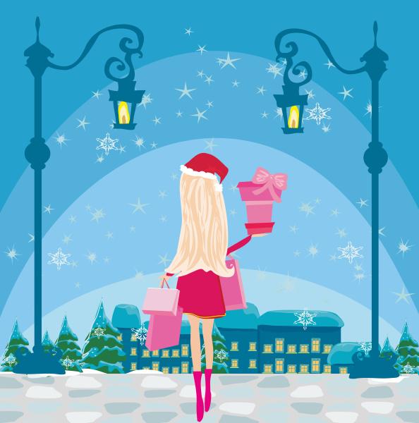 beautiful girl on winter shopping card