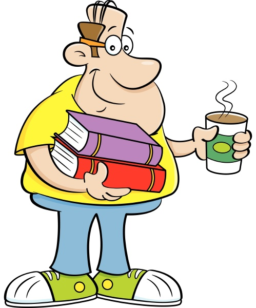 cartoon illustration of a man holding