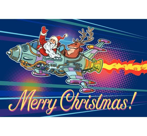 merry christmas retro santa claus with