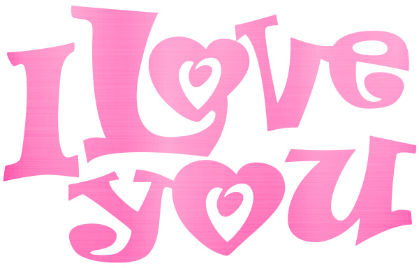 i love you lettering metallic pink