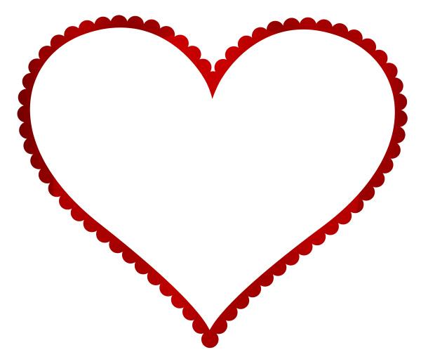 heart frame shape love metallic red