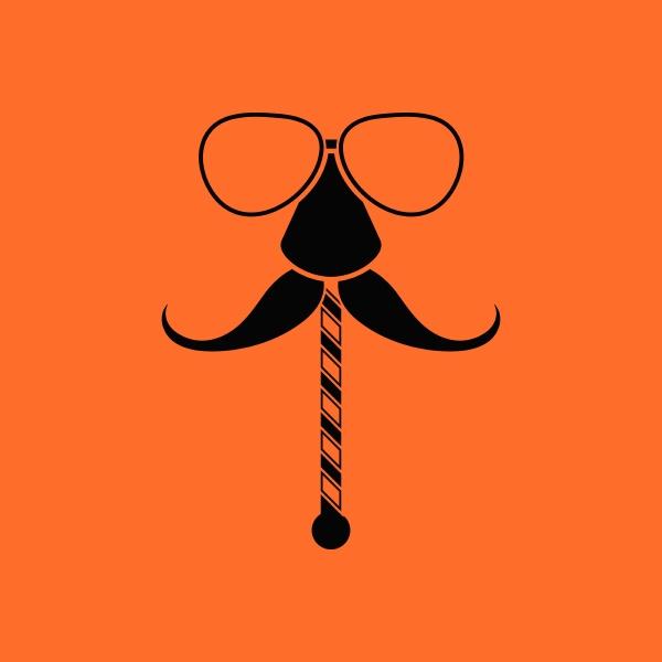 glasses and mustache icon orange