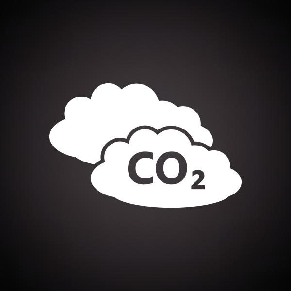 co 2 cloud icon black background