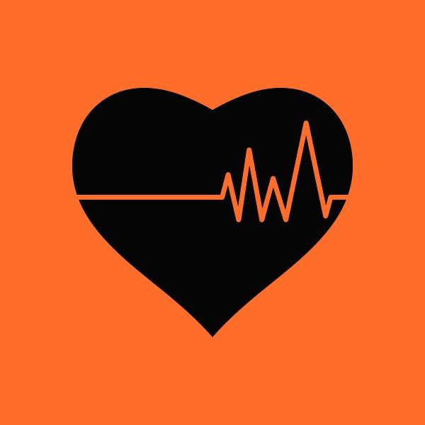 heart with cardio diagram icon orange