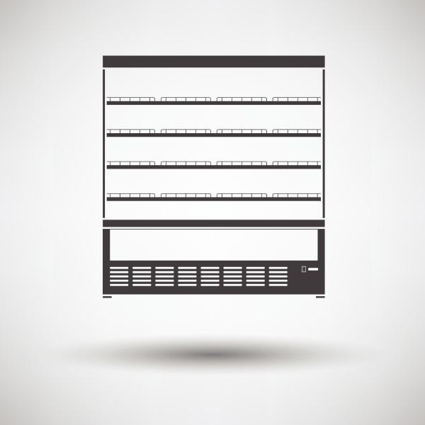 supermarket refrigerator showcase icon on gray