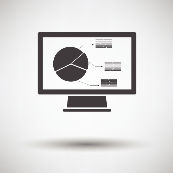 monitor with analytics diagram icon on