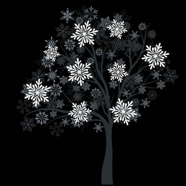 winter tree with snowflakes on black