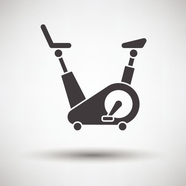 exercise bicycle icon on gray background