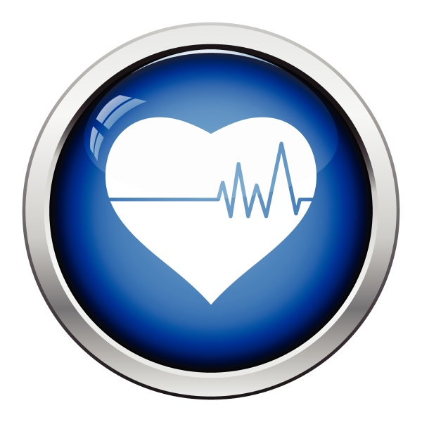 heart with cardio diagram icon glossy