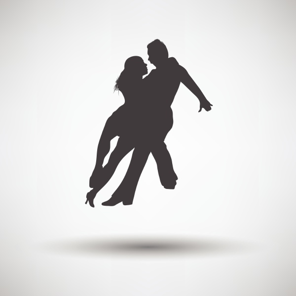 dancing pair icon on gray background