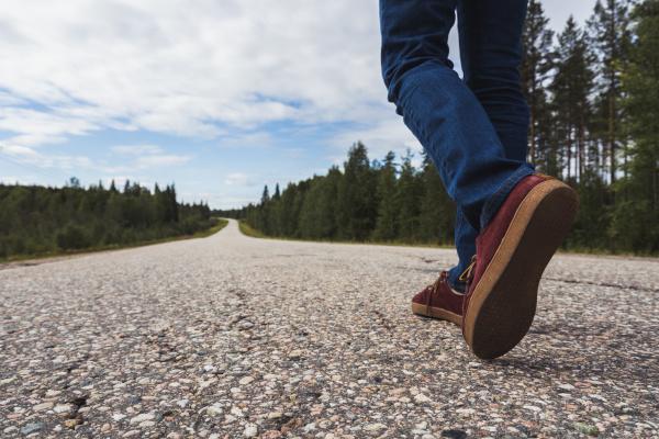 finland lapland feet of man walking