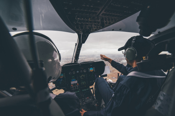 police pilot during the helicopter flight