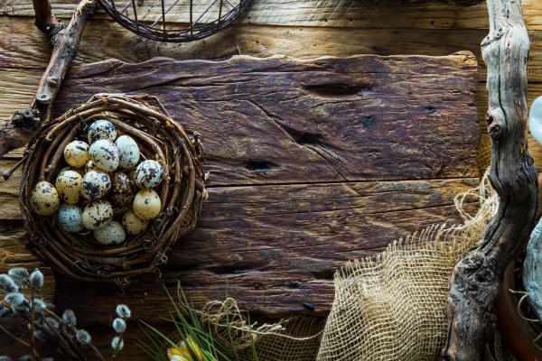 easter, table, setting.quail, eggs, in, nest. - 26410257
