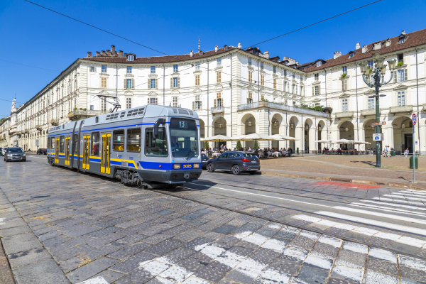 view of tram in piazza vittorio