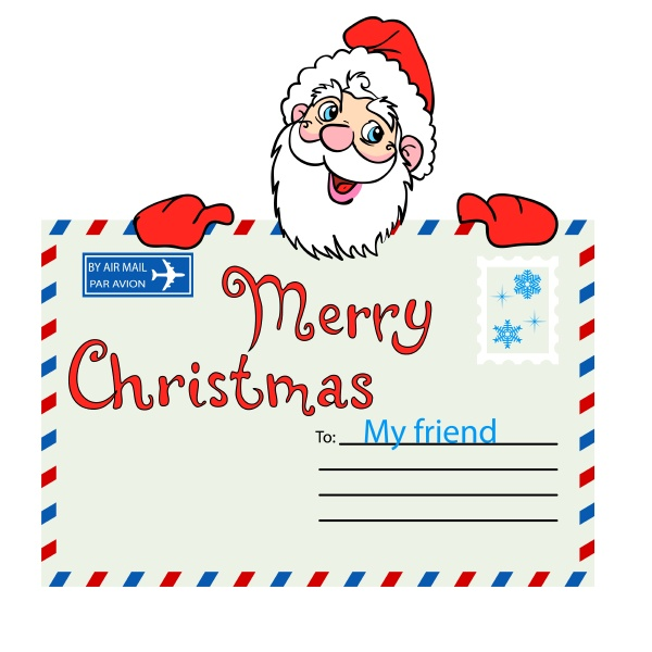 santa claus holds a mailing envelope
