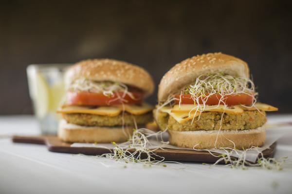 vegan burger with quinoa tomato and