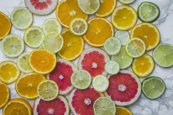 various citrus fruit slices full frame