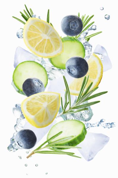 lemon cucumber blueberry and rosemary flying