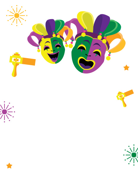 green purple carnival mask happy mardi