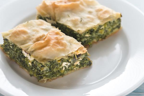portion of spanakopita greek spinach