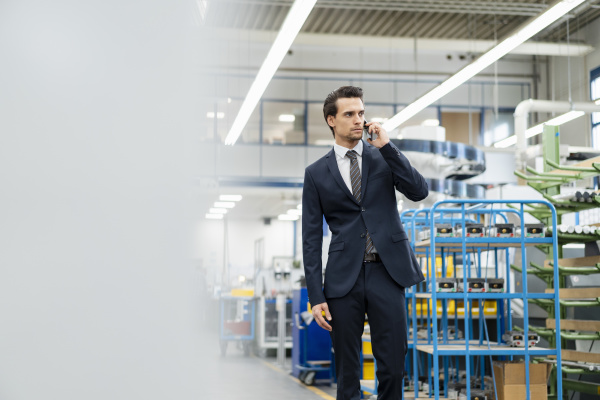 businessman on cell phone in a