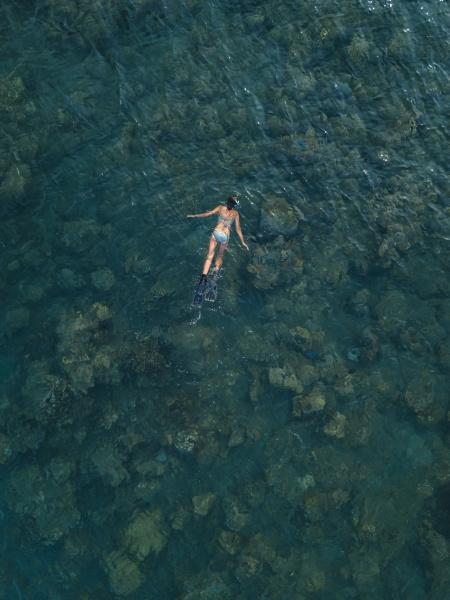 indonesia bali woman snorkeling