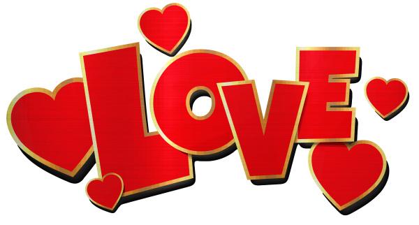 love heart metallic golden red shiny