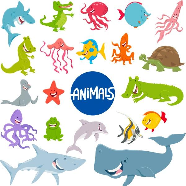cartoon marine animal characters set