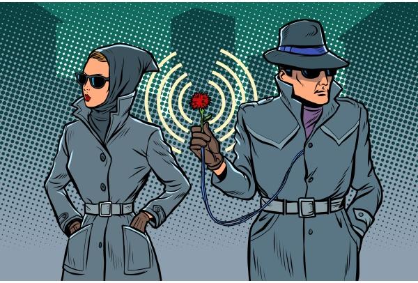 man and woman secret agents