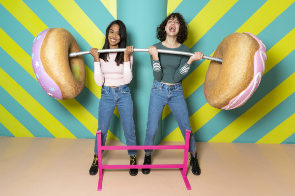 two happy young women at an