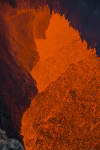 active magma in a stream below