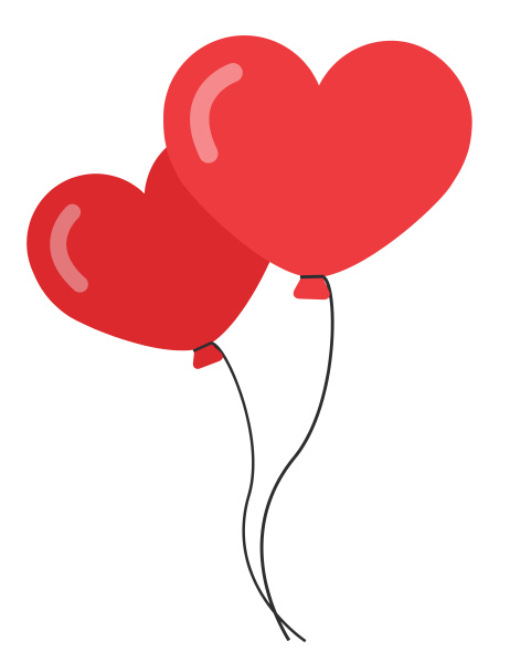 balloons heart red double love helium