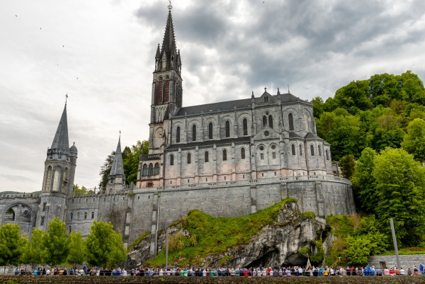 view of the basilica of lourdes