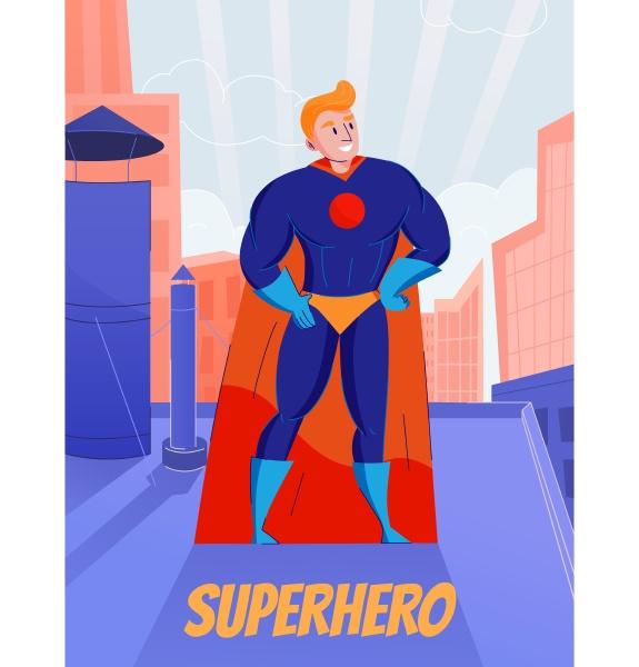 superhero retro comic book character standing