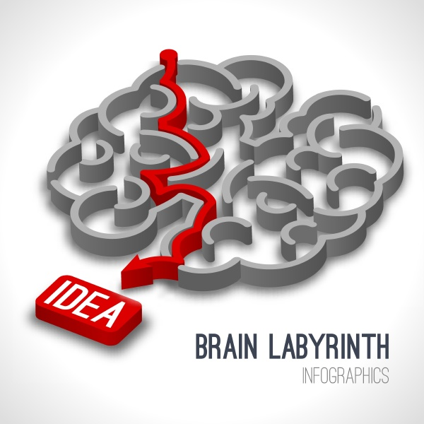brain labyrinth infographics set with red