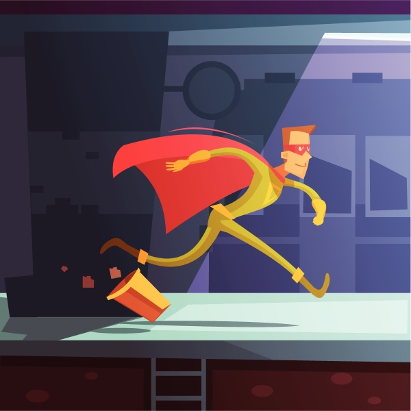 superhero running in the street with