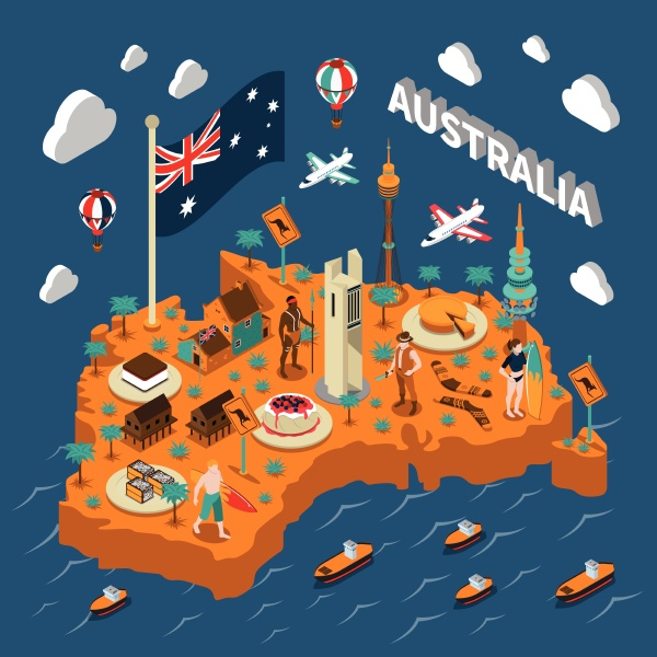 australian touristic isometric map with national