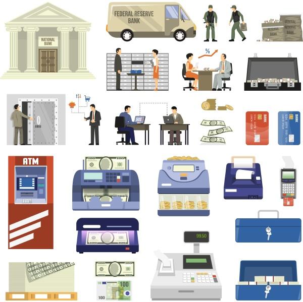 flat set of bank building equipment
