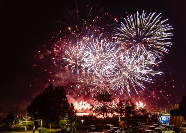 fireworks at the river danube
