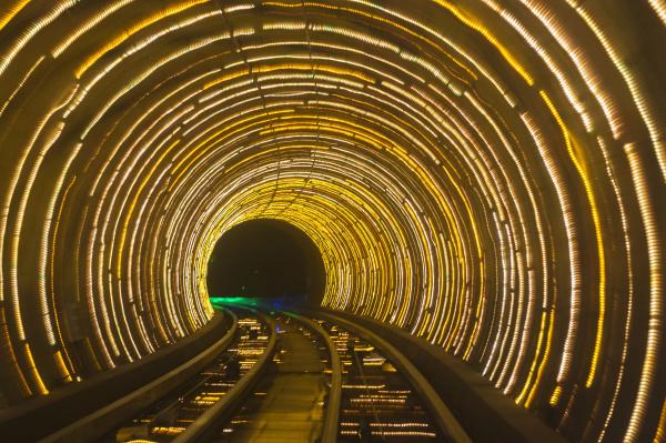 bund sightseeing tunnel pudong shanghai china