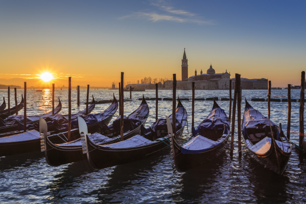venetian winter sunrise after snow with