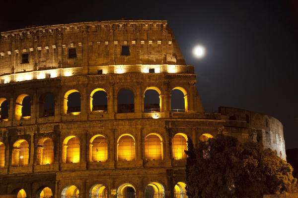colosseum large moon details rome italy