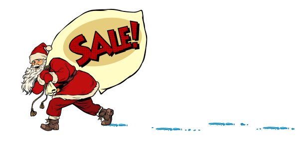 christmas sale business concept santa with