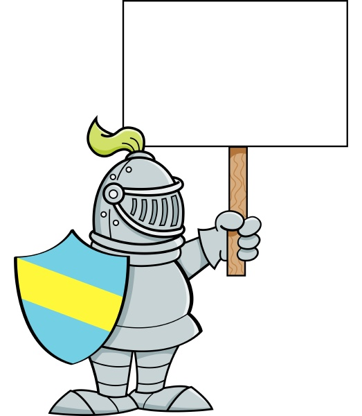 cartoon illustration of a knight holding